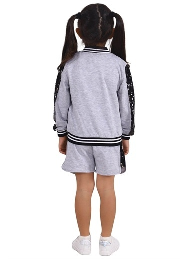 Silversun Kids Kız Çocuk Baskılı Kolları Payetli Cepli Sweatshirt Jm 215335 Gri